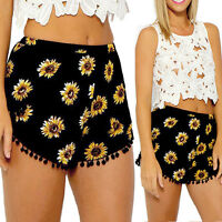 UK 8-20 Boho Women Sunflower High Waist Beach Holiday Casual Shorts Hot Pants