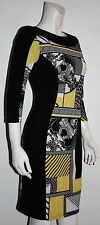 FRANK LYMAN Stretch Yellow Black Abstract Design Above Knee Lined Dress Size 8