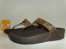 FITFLOP authentic AZTEC CHADA Soft Leather slideOn Thong Sandals US10 $110