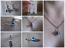 Silver earrings and pendant set Greek evil eye good luck charms blue white ELGR