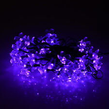 Outdoor Waterproof Solar Purple Flower 50 LED String Fairy Light Christmas Party