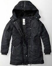 NWT Abercrombie & Fitch Womens Black Shiny Parka Puffer Jacket Coat S New Fur