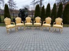 FRANCE BAROQUE STYLE - 6 GOLD ARMCHAIRS