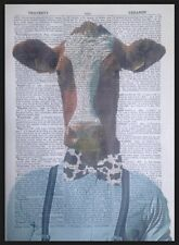 Cow Hipster Impression Vintage Dictionary Imprimé Page Art Mural Image Funny