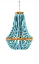 "Creative Co-Op Unique Blue Wood Bead Beaded Yellow Iron Chandelier 26"" Bohemian"