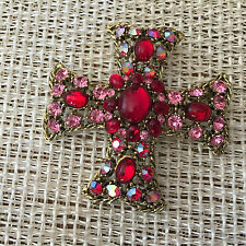 Vintage Weiss Maltese Ruby Red & Pink Cross Brooch