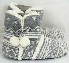 Victoria's Secret PINK sz M(7-8)~Faux-Fur Bootie Slippers~mukluk Gray Fair Isle