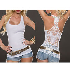 Sexy Women Summer Lace Vest Top Sleeveless Shirt Blouse Casual Tank Tops T-Shirt