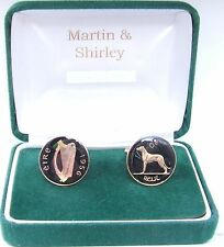 1956 Ireland cufflinks Old Irish 6D coins Black & Gold