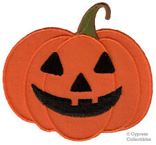 JACK O'LANTERN IRON-ON PATCH embroidered applique HALLOWEEN SMILING PUMPKIN new