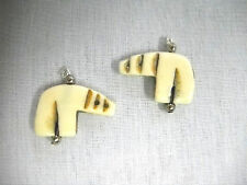 CARVED ANTIQUE BUFFALO BONE TOTEM SPIRIT FULL BODY BEAR / BEARS CUSTOM EARRINGS