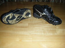 Girls Y MIZUNO Black Leather Lace Athletic Soccer Football Cleats Shoes S 2