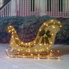 "Gorgeous Christmas 42""  Champagne Glittering Lighted Sleigh Outdoor Yard Display"