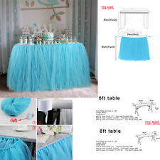 80*100cm 100% Tulle TUTU Table Skirt Weddig Baby Shower Birthday Decor Aqua Blue