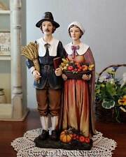"14"" THANKSGIVING PILGRIM COUPLE CENTERPIECE Figurine Statue PUMPKIN CORN"