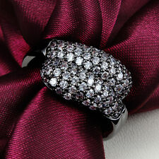 Double Snake Head  Rings 18K Black Gold Vintage Zircon Crystal Wedding Gift New