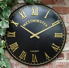 Outdoor indoor black large Garden Wall Clock Hand Painted church clock 21 inch