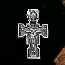 RUSSIAN ORTHODOX  CROSS - CRUCIFIX / ARCHANGEL SOLID  .925 STERLING SILVER