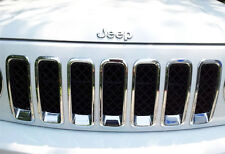 Chrome Front Grille Mesh Grill Garnish Cover Surrounding for Jeep Patriot 12-16