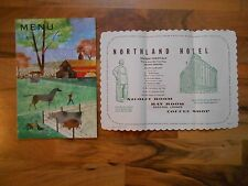 Old Vintage 1957 Menu Coffee Shop The Northland Green Bay Wisconsin Hotel Mat
