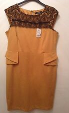 """BNWT """" NEXT """" Size 18 Mustard Lace Top Peplum Office Work Occasion Day Dress New"""