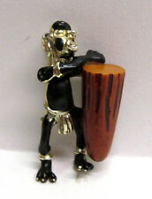 Vintage African Native with Bakelite Drum Figural Pin Brooch - BOOK PIECE!