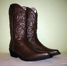 WOMENS BROWN FAUX LTHR RAMPAGE CLASSIC COWBOY WESTERN BOOTS US 9 EUR 39 39.5 40