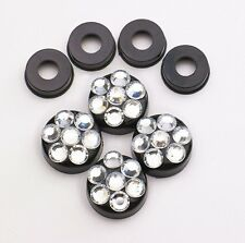 Clear Crystal Rhinestone Screw Black Caps for Bling Sparkle License Plate Frame