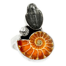Fossil Ammonite & Trilobite 925 Sterling Silver Ring Jewelry s.8.5 SR210985