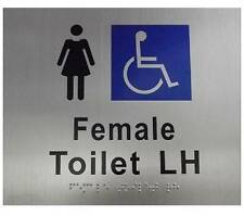 Female Disable Toilet Left Hand Braille Sign Stainless Steel