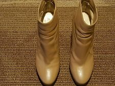 JIMMY CHOO WOMEN FASHION ANKLE BOOTS # 7.5 M EU 37.5 M CARAMEL BROWN LEATHER.