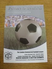 20/04/2012 London Commericial League Cup Senior Final: Marsh Rangers v British A