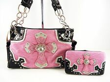 ZEBRA PRINT PINK BLACK BLING RHINESTONE CROSS PURSE HANDBAG FLAT WALLET SET