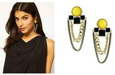 Occident Fashion Rock Yellow Round Bead Square Link Chain Tassels Earring Stud