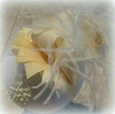 Ivory Cream Over the Top Ostrich Feather Hair Bow Boutique Pageant Big Hairbows