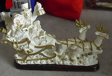 """Large Resin Reindeer Pulling Sled with Family Figurine 7 1/2"""" Tall"""