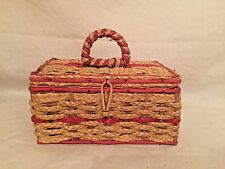 Small Vintage Sewing Basket Box - Red and Natural Wicker