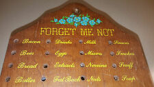 Vintage 1950's Wood Forget Me Not Pegboard Reminder Grocery Shopping List