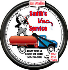 Personalized Your Name Sewer Septic Pumping Vacuum Service Truck Sign Wall Clock