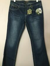 NWT WOMEN REQUEST JEANS LIVERPOOL ATHLETIC FIT BOOT CUT SZ 17/36 LEATHER TRIM