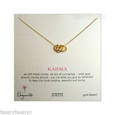 """Dogeared Gold Dipped 5 Small Sparkle Linked Karma Necklace 18"""" Chain with Pouch"""