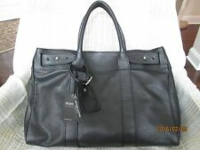 NWT CLAUDIA FIRENZE Black Pebble Leather Satchel TOTE SHOPPER HANDBAG Italy
