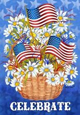 "PATRIOTIC STARS N STRIPES AMERICAN  MINI GARDEN FLAG ""DAISIES AND FLAG"""