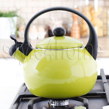 ENAMEL Stainless Steel WHISTLING Kettle 2.2L Electric Gas HOBS Stove Top GREEN