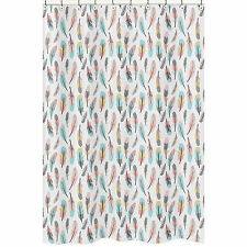 Sweet Jojo Grey Turquoise Coral Feather Kids Bathroom Fabric Bath Shower Curtain