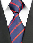 NE170 Navy Red Stripe New Jacquard Woven 100%Silk Classic Necktie Man's Tie