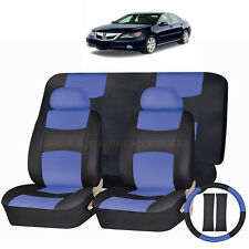 PU LEATHER BLUE & BLACK SEAT COVERS 11PC SET for ACURA TSX RDX TL MDX CIVIC