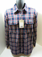Boston Traders Mens Button Down Flannel Fleece Plaid Shirt Red/Blue Size L NWOT