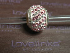 ** Genuine Lovelinks * ROSE PINK/CLEAR STRIPES CRYSTAL BALL Charm **
