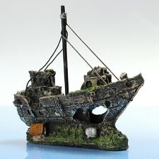 Aquarium Ship Air Split Shipwreck Cave Fish Tank Sunk Wreck Boat Ornament Useful